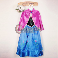 Free Shipping Frozen Snow Queen Princess Anna Dress With Cloak For Kids/Girls