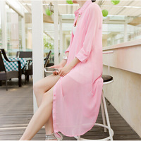 Summer sun protection clothing new fashion long-sleeved cardigan chiffon blouse shirt beach clothing KZ224