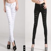 2014 new spring summer women jeans white black hole mid waist slim pencil pants pant woman jeans denim