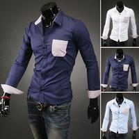 2014 Latest Contrast Color Streak Pocket Noverty Style 3 Colors White Light Blue Royalblue Casual Shirt Brand Plus Size Clothing