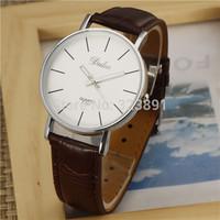 new 2014 f unisex men women thin case fashion pu leather strap casual wrist quartz watch fashion gift