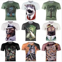 1pcs promotion! Men's Fashion 3D Animal Creative T-Shirt Tai chi tree printed funny 3D T Shirts sport t shirt,S -6XL,A02