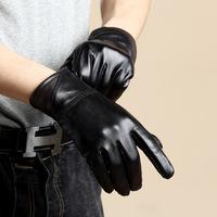 (1piece/lot) 100% Genuine Leather Men's Gloves,2014 Winter Men And Women Outdoor Windproof Waterproof Warm Mitten Wholesale