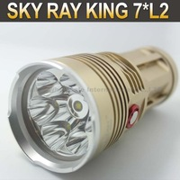 Sky-Ray King Bright 6000 Lumen 7x CREE L2 LED Use 4x 18650 Battery Flashlight Torch King+4x3000mah Battery+ Charger