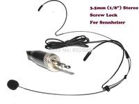 Black color Dual ear Hook Headset Mike Microphone for S e n n h e i s e r (3.5mm stereo screw lock)