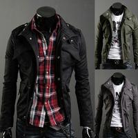 Men's Coat Trench Coat Jacket Overcoat Military Casual Slim Fit Designer Pocket