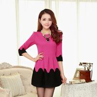 Plus size M -XXL 2014 spring&autumn  cute slim knitted women's one-piece dress,Three quarter ,rose beige pink ,free shipping