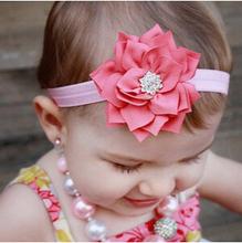 Fashion Baby Girl Toddler Infant Elastic Feather Hairband Headbands Baby Hair Band Flower Accessories Rhinestone(China (Mainland))