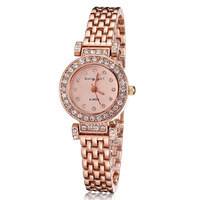 Women watch luxury brand 2014 King Girl crystal rhinestones rose gold plated watch hours ladies quartz watches gift free ship