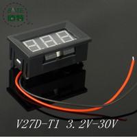 10PCS/LOT V27D - T1 2-wire  buggies 6v 12v motorcycle battery special 3.2-30v digital digital voltmeter RED