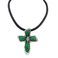 Europe Vintage Style Cross Pendant Necklace Leather Chain 52cm Punk 2014 New Fashion Jewelry