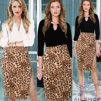 2014 Women Leopard Pencil Skirt Female Fashion Sexy Elastic Slim High Waist Slim Hip Open Side Split Step Skirts Big Size 03298