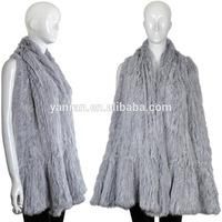 Factory Direct Sale~~2014-2015 Hot Sale YR-632 Knit Fur Shawl rabbit Fur Poncho various Colors