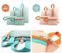 4pcs/set Luggage organizer 2014 new Korean ver Travel storage Nylon Mesh Pouch Washing Cosmetic Zip Bag travel Makeup Bag