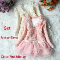 Bellahut Retail dress+jacket Beautiful Girls Cardigan and Dimante Dress Tutu baby kids Children clothing