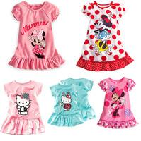 Bellahut Retail kids girls dress 2014 new summer dress Hello Kitty children's clothing cartoon cute girl dress cat