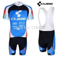 Free shipping New 2014 cube Team cycling jersey/ cycling clothing Shirt+bib short mens women set Summer S-3XL