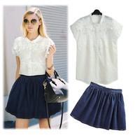 New 2014 Fashion Summer Women's Clothing Set White Embroidery Lace Hollow Short Sleeve Top+Denim Skirt 2pcs dress Clothing Set