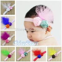 Vintage Satin Rosette & Feather Baby Headband Baptism/Christening Photo Props Girls Flower Hair Bows 10pcs HBD10