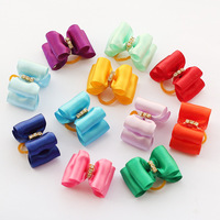 dreambows Handmade Puppy Accessories Solid Color Ribbon Crystal Core Ribbon Bow #db1018 Hair Bows Dogs Clipping