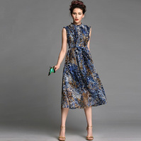 2014 New Arrival Fashion Elegant Leopard Print Beach Dress Women's Summer Sleeveless Chiffon Prom Dresses 12048