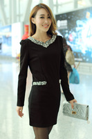 Hot  Sale! 2014  New Autumn Spring Winter Dress Luxury Rhinestones Beading Princess Dress Slim Dress High Quality Dress