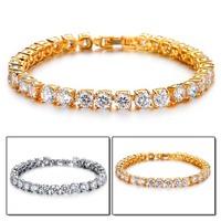 Classical Luxury Cubic Zirconia Inlaid Women Girl Bracelet Vintage 18K Real Gold Plated Chain Bracelet & Bangle Top Workmanship