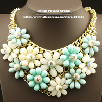 2014 Fashion Blue Crystal Flower Party Item Exaggerate Bijouterie False Collar Statement Chunky Choker Necklaces for Women Girls
