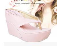 2014 summer sexy 3.5cm wedges platform 10cm high heel fashion flip flops slippers women sandals large plus size 40-44 shoes