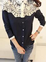 2014 Fall Cape-style Blouse Lace Stitching Chiffon Shirt Women Clothing
