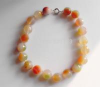18mm natural large facet agate pink crystal necklace