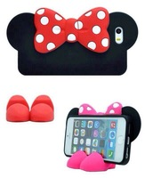 For iPhone 5 5s Case Bowknot 3D Cartoon Mickey & Minnie mouse TPU Case Stand Cover for iPhone 5/5s,Retail Package