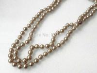 "53"" long 8mm lustrous silver champagne MOP necklace"