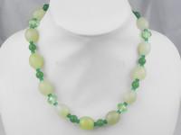 graceful light green drum agate aventurine crystal necklace