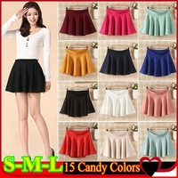 Free shipping New 2014 summer Fashion Women Skater Girl's Elastic High Waist Skater Mini Skirt 15 Candy Colors High quality