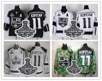 2014 Stanley Cup Champions Patch  Los Angeles Kings #11 ANZE KOPITAR Black White Grey Camo Ice Hockey Jersey Cheap LA Jersey