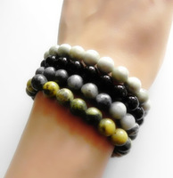 4pcs. 8mm natural mixed stone elastic bracelet
