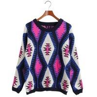 Sweaters 2014 women fashion pullover wool long plus size patterns desigual winter warm Korean knitwear Geometry in stock 0216