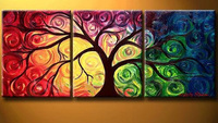 Framed Modern 3 piece Abstract tree Oil Painting on Canvas Art group paintings with frame home decorationFree shipping sa-1211