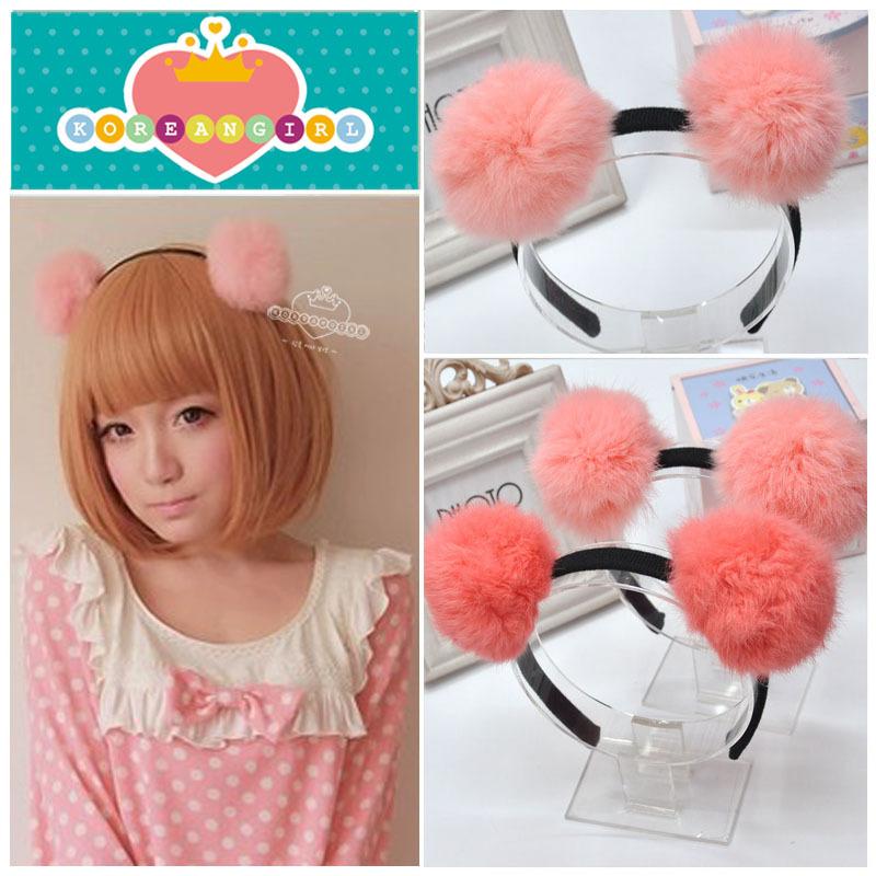 Free shipping!Fashion Baby Accessories Double Ball Of Rabbit Fur Children Girls Jewelry Hair Band Hairwear Headband(China (Mainland))