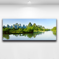 Tourist Attractions Guilin's Water and Mountains Captivate The World Landscape Painting Wall Art Home or Office Decoration