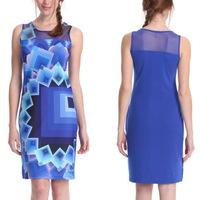 Drop Shipping New 2014 Women Sexy Gradient Geometric Plaids Dress Evening Party Dresses Gauze Splice Club Dress Wholesale M3-13