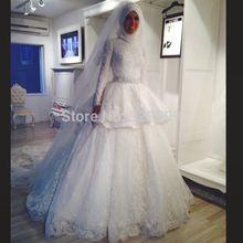 Hot Sale Beautiful High Neck Long Sleeve Muslim Wedding Dress Lace(China (Mainland))