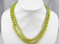 44-46cm 2-row 8mm natural lemon stone necklace
