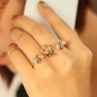 20% discount of 3pcs or more fashion high quality crystal bee adjustable ring J189