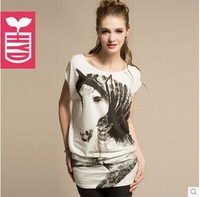Free shipping women t shirt Hand-painted unicorn horse animal print cotton short-sleeved lady t-shirt