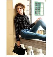 Korean Style Polka Dot Chiffon Long-Sleeved Shirt, Women Causal Dot Blouse