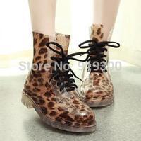 Brand New 21 Models Women Fashion PVC Martin Rain Boots Waterproof Flat Heels Ankle Rainboots Flower Water Shoes Leopard  #TR4