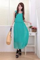 Large Size Women Long Dress ,Retro Falbala Flounced Chiffon Dress Elegant Dress