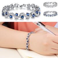 Exquisite Elegant Silver Tone Jewelry Diamante S Shape Design CZ Diamond Fully Inlaid Charm Bracelet for Women Free Shipping